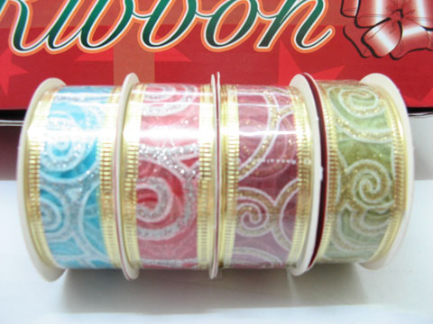 28 Rolls X 2.7meter Glitter Chiffon Ribbon Mixed Colour