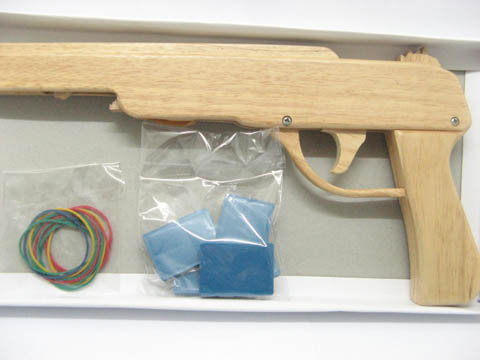10X Wooden Rubber Band Toy Gun 31cm long toy-w72