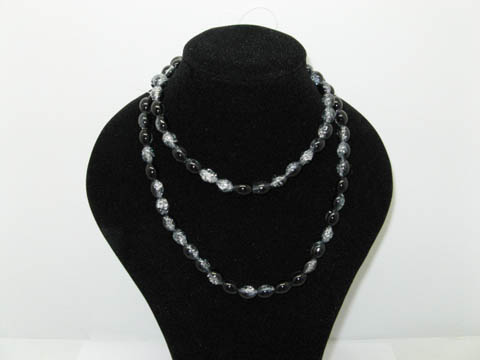 10 Strands Black Oval Crackle Glass beads,720 beads
