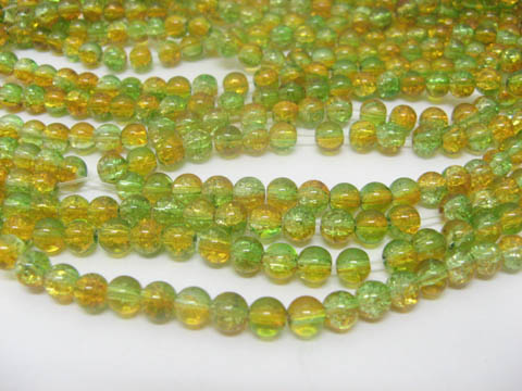 10 Strands Yellow & Green Round Crackle Glass Beads