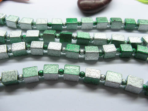 10 Strands Green&White Baked Glass Beads 7x8mm