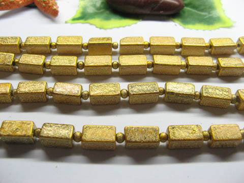 10 Strands Yellow Baked Glass Beads 6x12mm be-g569