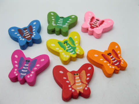300Pcs Wooden Butterfly Beads Mixed Color