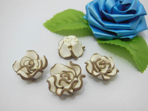 195 Coffee White Fimo Rose Flower Beads Jewellery Findings 2cm