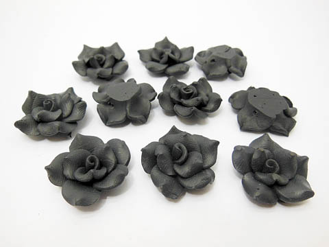 195 Black Fimo Rose Flower Beads Jewellery Findings 2.5cm