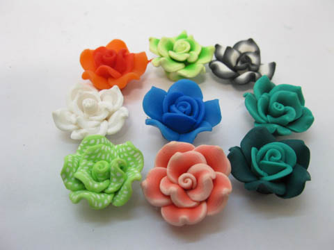 50Pcs Rose Fimo Beads Frangipani Jewellery Finding Mixed Color