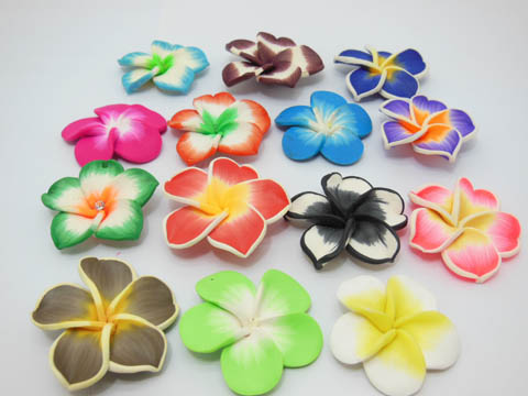 50 Fimo Beads Frangipani Jewellery Finding Assorted