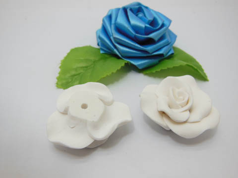 100 White Fimo Rose Flower Beads Jewellery Findings 3.5cm