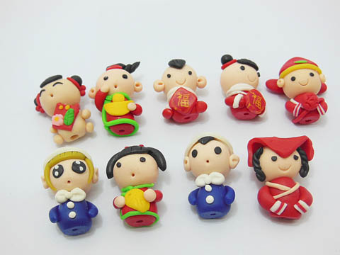 98 Lovely Polymer Clay Dolls Charms Beads Fit Bracelet&Necklace