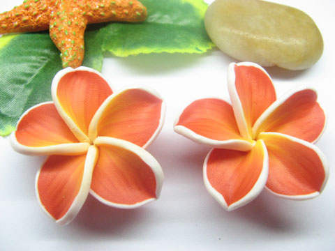 20 Red Fimo Beads Frangipani Jewellery Finding 4.2cm