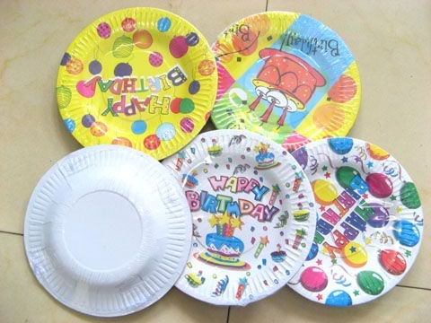 40pcs Happy Birthday Cartoon Paper Dishes Party Favor