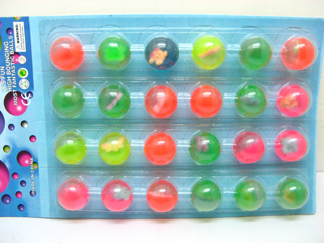 24 Bouncing Balls with Animal Inside 30mm Mixed Colour