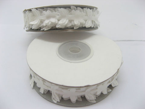 5 Rolls (50meters) White Satin Leaf Craft Daisy Ribbon