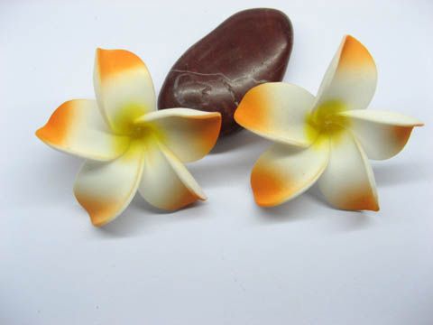 50 New Orange Fabulous Foam Frangipani Flower 4.2x2cm