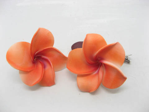 50 New Orange Fabulous Foam Frangipani Flower 8x3.5cm