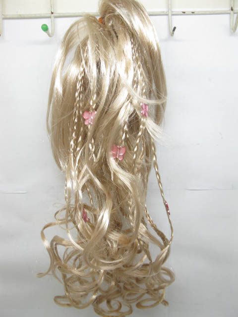 6X Beige Curled Hair Wigs with Braid 35cm
