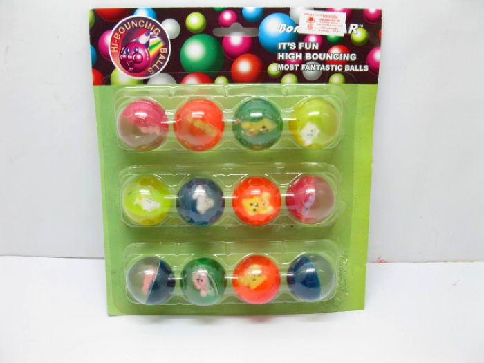 60X Bouncing Balls with Animal Inside 32mm Mixed Colour