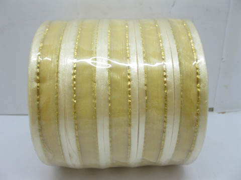 5Rolls X 250Yards Golden Edged Organza Ribbon 18mm