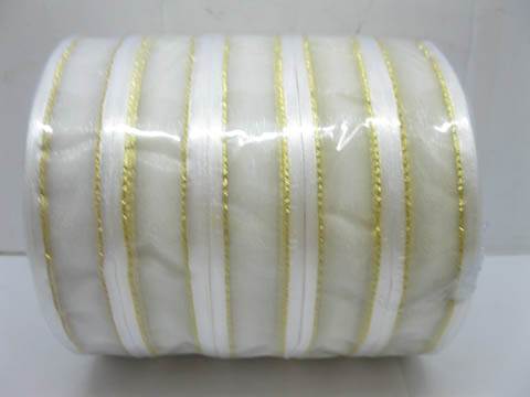 5Rolls X 250Yards White Edged Organza Ribbon 25mm