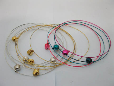 1Pack X 12Sets Thin Bracelets w/Bell Mixed Color