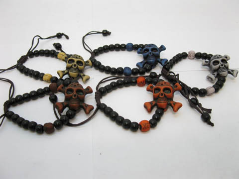 100 Skull Beads Drawstring Bracelet Mixed Color