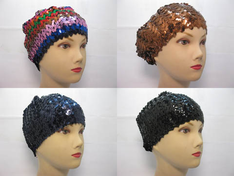 5Pcs Elastic Ladies Sequined Hat Sequin Hat Mixed Color