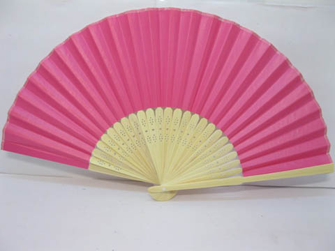 10X DIY Plain Fuschia Paper Hand Fans for Wedding 21cm