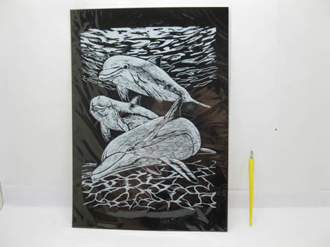4X New Silver Foil Engraving Art Kits - Dolphin