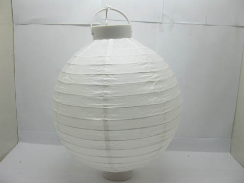 5Pcs Plain White Led Paper Lanterns w/Mini Bulb 30cm