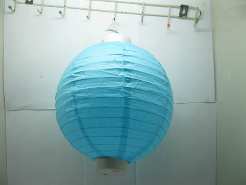 5Pcs Plain Blue Led Paper Lanterns w/Mini Bulb 30cm