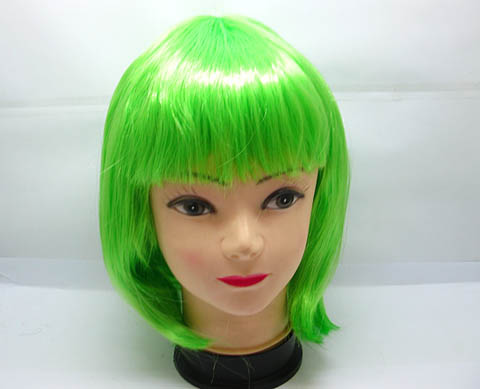 1X Bobo Head Style Neat Bang Short Straight Cosplay Wig - Green