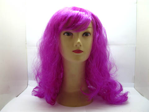 1X Long Curly Wavy Cosplay Party Hair Wig - Purple