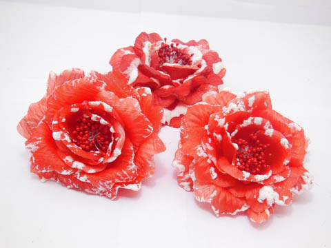 12 Red Peony Flower Elastic Hair Band & Brooch 10cm