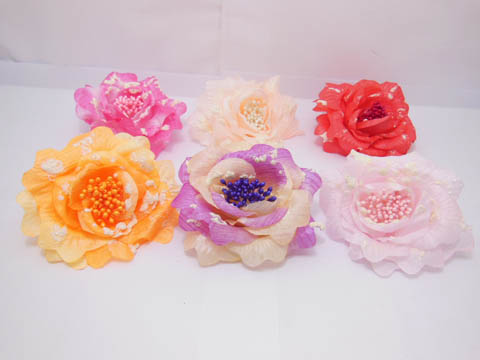 12 Peony Flower Elastic Scrunchies & Brooch Hair Elastic
