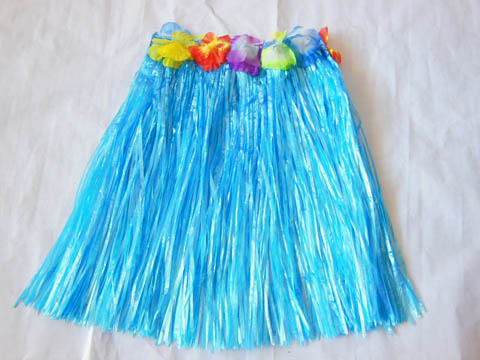 1X Dress-up Hawaiian Blue Hula Skirt 40cm