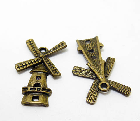 100Pcs Bronze Color Windmill Charms Beads Pendants 23x17mm