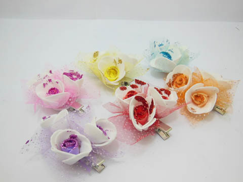 12Pcs (6Pairs) New Foam Rose Flower Hair Clips Mixed
