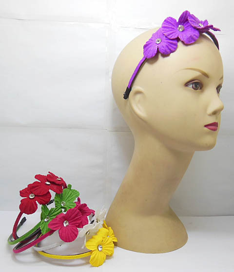 3x12Pcs New Hair Band with Attached Flower Mixed
