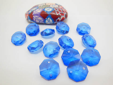 100 Blue Faceted Double-Hole Suncatcher Beads 14mm