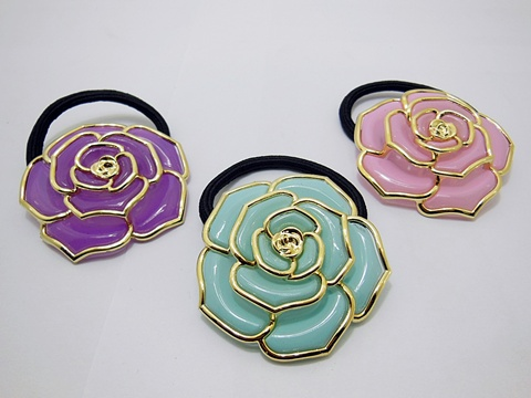 4x12Pcs Elastic Scrunchies with Rose Flower Hair Elastic