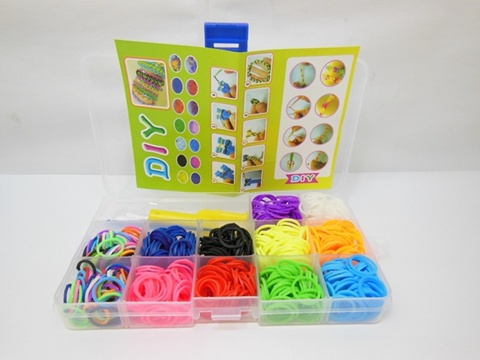 1Set Loom Bands Kit 680pcs Rubber Bands Clips DIY Making