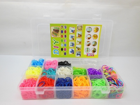 1Set Loom Bands Kit 2100pcs Rubber Bands Clips DIY Making