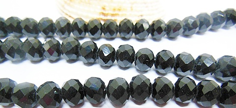 10Strand x 70Pcs Black Faceted Glass Beads 8mm