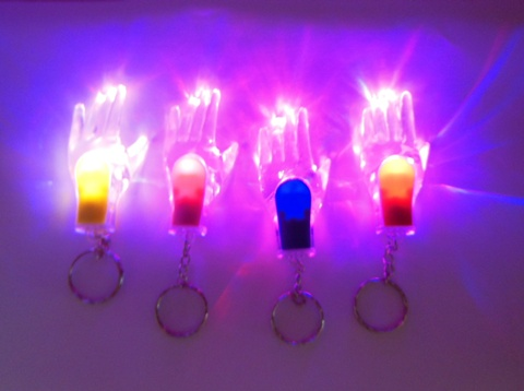 12 New Hand Light-Up Torches Key Rings Mixed