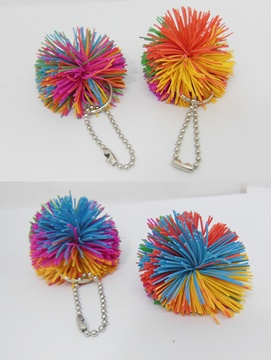 100 Colorful Spikey Ball Keychains Keyring