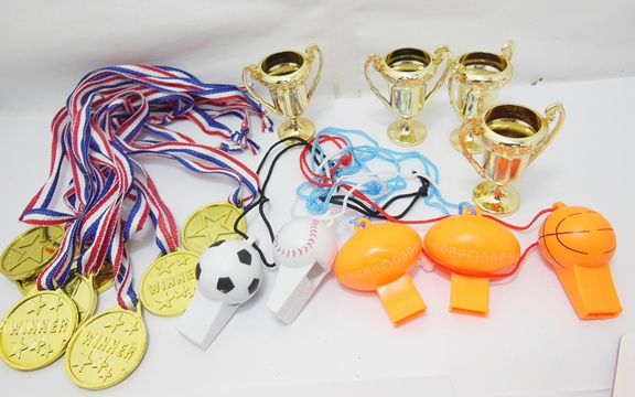 36Bags Tropies & Golden Medals & Assorted Whistles 3 Designs