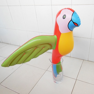 12 Inflatable Colorful Jumbo Parrot Toys 76cm Wide