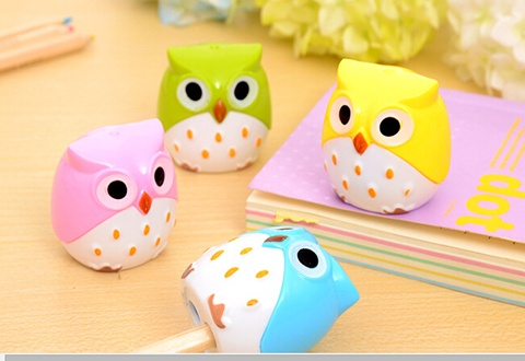 24Pcs Owl Shape 2 Hole Pencil Sharpener Mixed Color