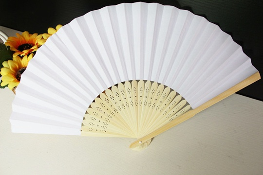 12X Plain White Paper Hand Fans for Wedding 21cm
