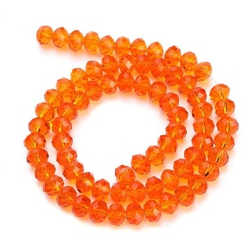 10Strand x 72Pcs Orange Faceted crystal Beads 8mm